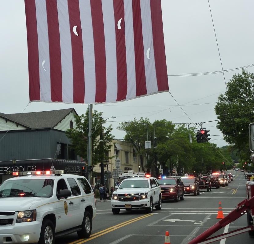 Fire Departments from throughout the town marched together.