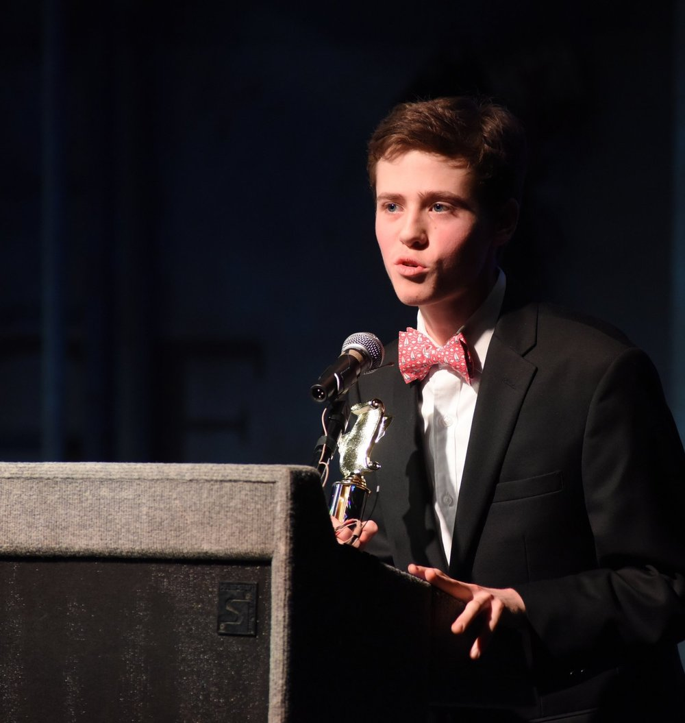 "Keenan Lyons, of Huntington High School, was awarded ""Best Supporting Actor in a Play."""