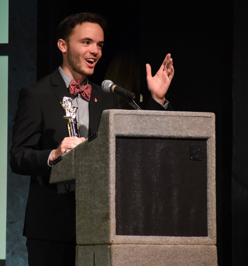 "Aidan Mallon, of Hills East, won ""Best Actor in a Play"" for his role as Rev. Hale in ""The Crucible."""