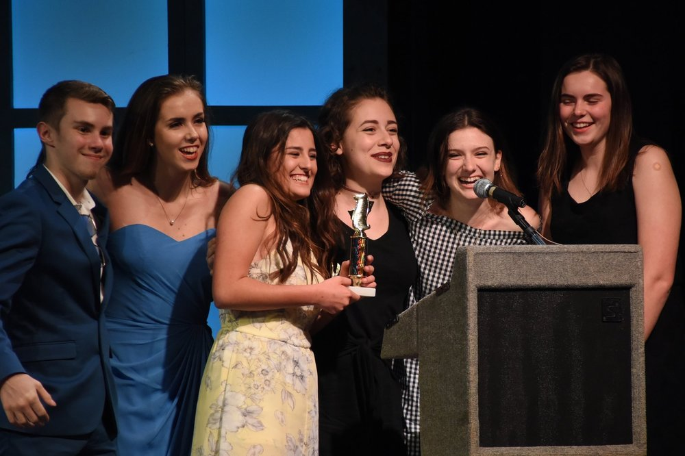 "Students from Northport High School accept the award for ""Best Dance Performances"" in their rendition of ""The Music Man."""