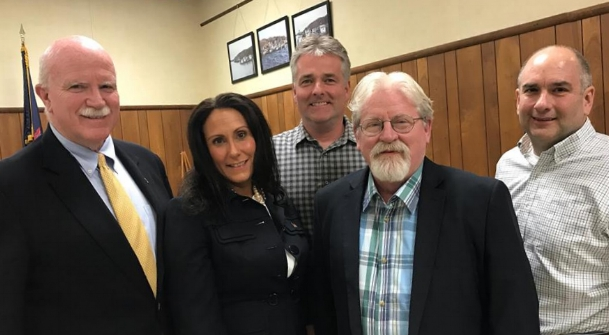 Northport Village's newest trustee Mercy Smith, second from left, with her fellow trustees, from left, Tom Kehoe, Ian Milligan, Mayor Damon McMullen and Jerry Maline.   (Photo/Facebook/Tom Kehoe)