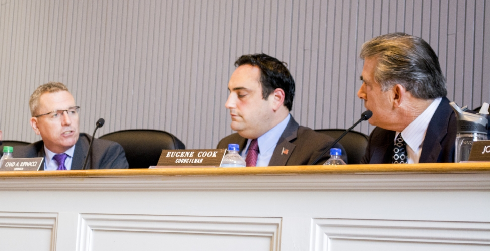 The Huntington town board defeated a proposal from Councilman Eugene Cook, right, to bring on Manhattan-based law firm Boise Schiller Flexner LLP to aid in its upcoming tax certiorari case against LIPA .  (Long Islander News photo/Connor Beach)