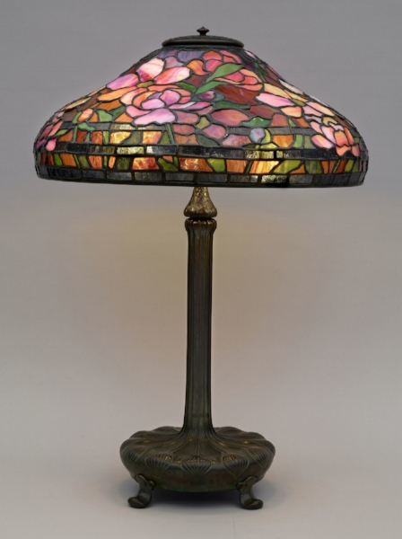 "Tiffany Studio, ""Spring Peony Table Lamp,"" c. 1900-1920, Heckscher Museum of Art"