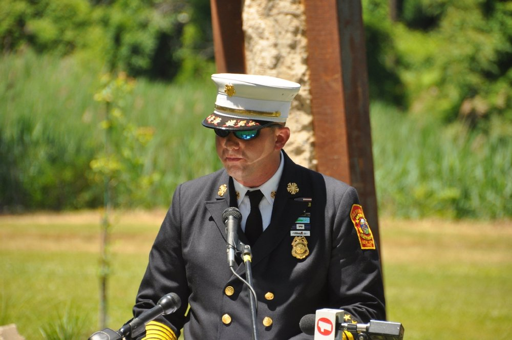 Fire Chief Dan Froehlich thanks those who attended the 9/11 memorial dedication ceremony.