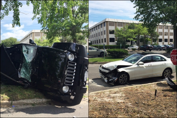 The two vehicles involved in the accident Friday, which injured two people.   (Photos/Melville FD)