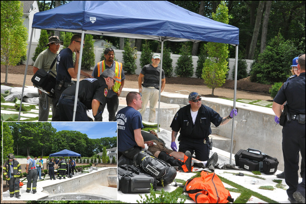 First responders treat the injured man, who fell into a residential pool last Wednesday.   (Photos/Steve Silverman)