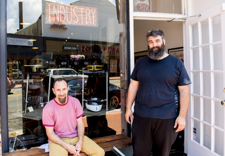 Business partners Emmanuel Cris, left, and Michael Hubert opened last month curated market Industry at 344 New York Ave. in Huntington village.   (Long Islander News photos/Connor Beach)