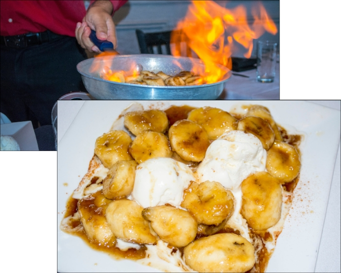 Prepared tableside, Bananas Foster features warm, sweet bananas cooked in butter, brown sugar, cognac and rum, and is served with ice cream.