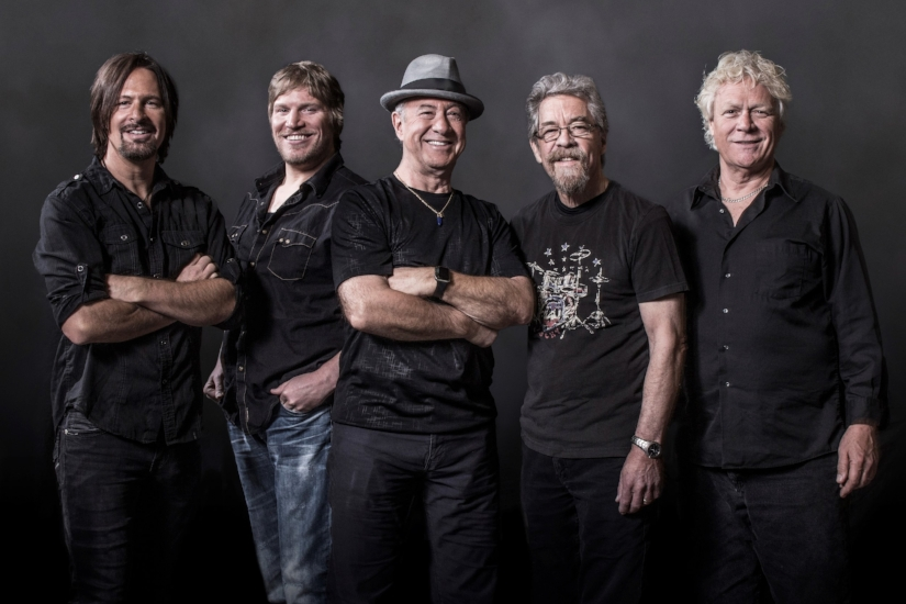 Creedence Clearwater Revisited, featuring, from left, Kurt Griffey, Dan McGuiness, Stu Cook, Doug Clifford and Steve Gunner, keep the classic hits of Creedence Clearwater Revival alive.   (Photo/Jeff Dow)