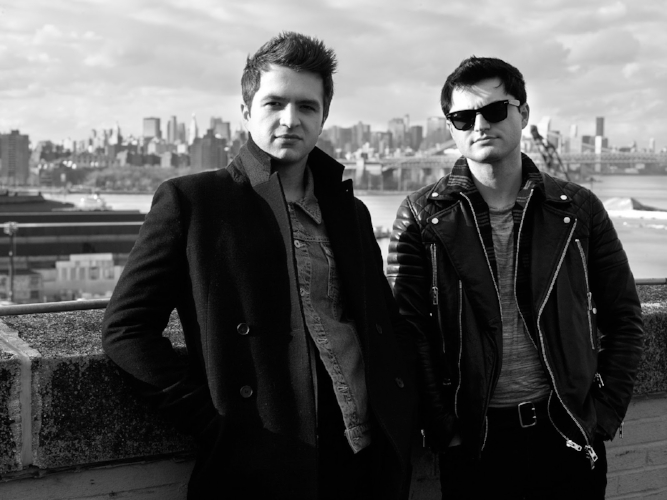 Pictured in Brooklyn, Andrew, left, and Matt, right, make up The Como Brothers pop-rock band.
