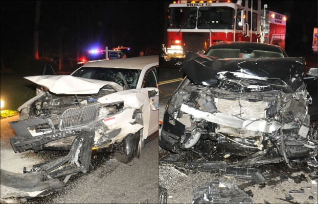 The 2014 Lincoln limousine, left, and 2012 Mercedes Benz sedan, right, collided at around 1:35 a.m., Sunday morning, according to Suffolk police.   (Photos/Steve Silverman)
