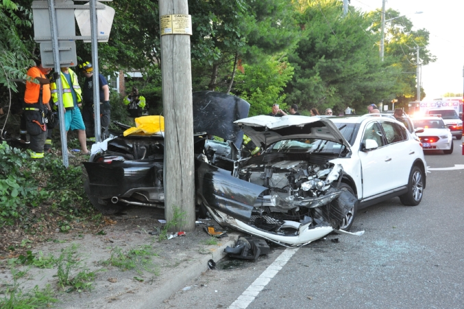 Wreckage from the crash that injured four in East Northport last Friday.   (Photo by Steve Silverman)
