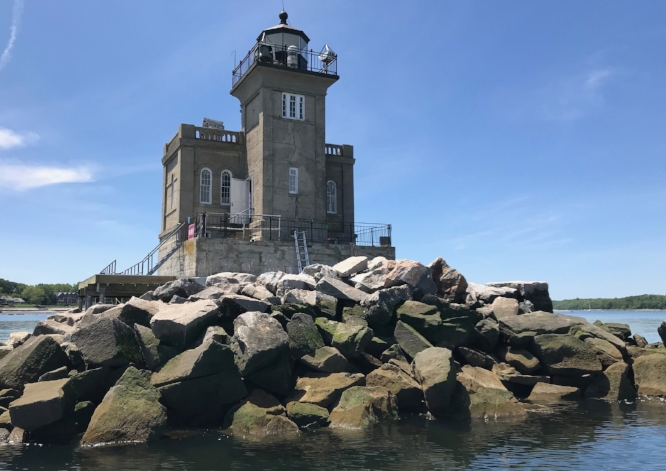 The Huntington Lighthouse, pictured above after a $1.1 million foundation renovation, will open July 15 for public tours for the first time since 2016.   (Photo courtesy of Pam Setchell)