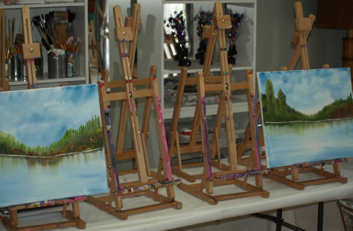 Certified art instructor Sandra Evans works with students in both private lessons and paint night events to help beginner artists create beautiful paintings.   (Long Islander News photo/Connor Beach)