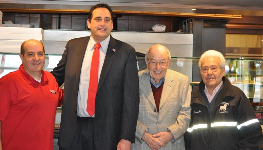 Pictured, from left, are: Steven DiRaimo; Huntington Supervisor Chad Lupinacci; Modesto DiRaimo; and Andrea Sorrentino.   (Photo/Town of Huntington)