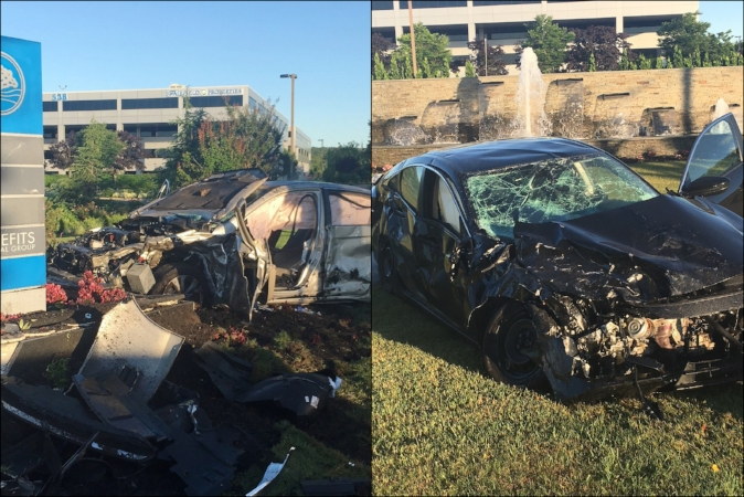 Suffolk police said the two vehicles collided in Melville at around 6:15 a.m., Sunday.   (Photos/Melville FD)