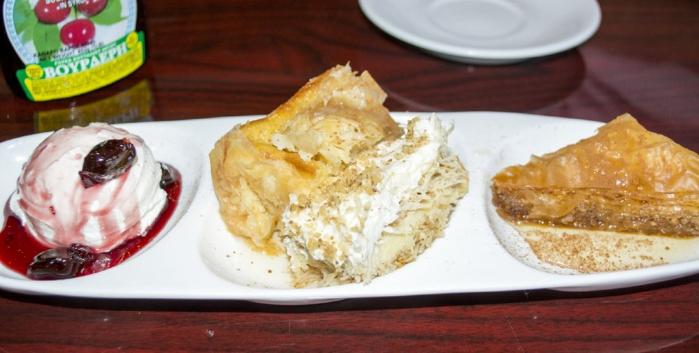 Our Foodies tried several traditional Greek desserts, including Galactobourico ($5.25), Baklava ($5.25) and Greek Yogurt.