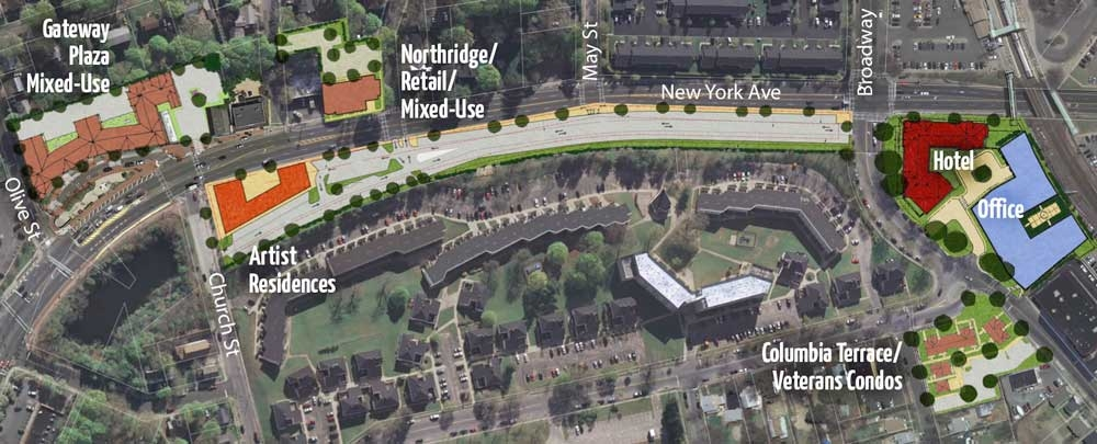 The planned Columbia Terrace development appears on an overhead map of the town's Huntington Station revitalization project.