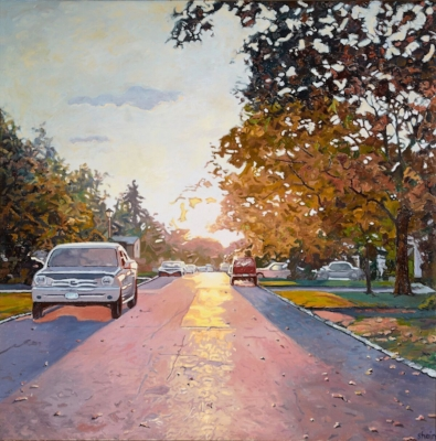 """Shain Bard of Huntington earned an award of excellence for her oil painting, """"Light Spilling Down the Street,"""" in the Art League of Long Island's current juried show, It's All About the Light."""