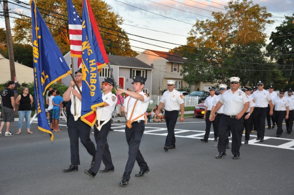 Members of the Cold Spring Harbor and Halesite fire departments march together.