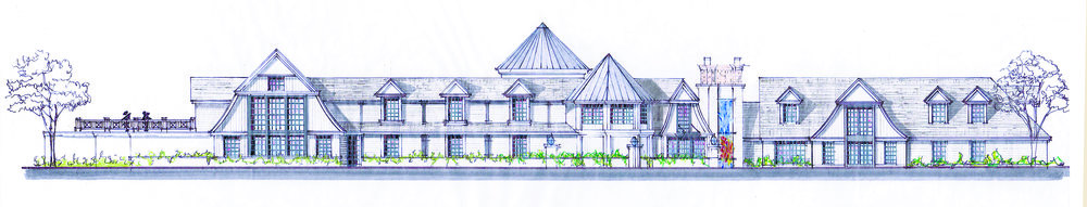 A rendering shows Hauppauge-based developer The Crest Group's plans to construct a new luxury catering hall and conference center at the site of the former Thatched Cottage in Centerport.   (Rendering courtesy of Christina Whitehurst)