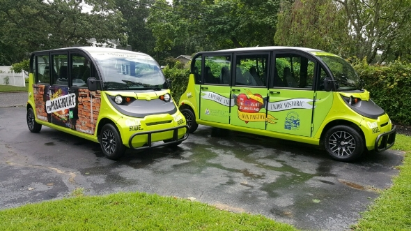 You can't miss the brightly colored electric carts that have begun ferrying people around Huntington village. The first two to hit the roads are sponsored by The Paramount, Huntington Chamber of Commerce and Huntington Village Business Improvement District.