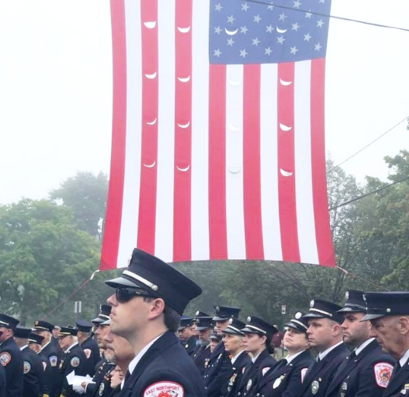 East Northport firefighter commemorated the anniversary of the Sept. 11, 2001 terror attacks in ceremonies at Fire Department headquarters.