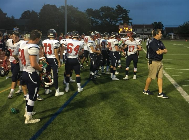 Seahawks on the sidelines during the team's 36-0 victory at Island Trees on Sept. 7.