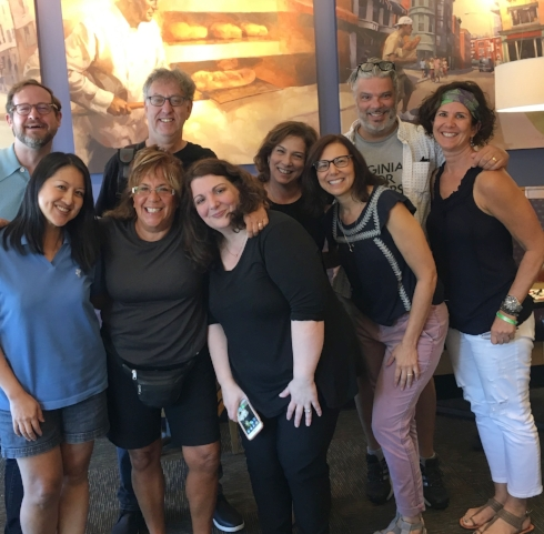 The cast of Maria Adcock, Lisa Leshaw, Kathy Radigan, Barbara Solomon Josselsohn, Barbara Herel, Kate Mayer, Lance Werth, Neil Kramer, and Tony Mennuto are ready to tell you a story.