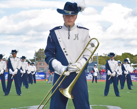 The Blue Devil marching band performed their hearts out along the parade route and during halftime, making Homecoming Day a festive occasion.   Photos/Huntington School District