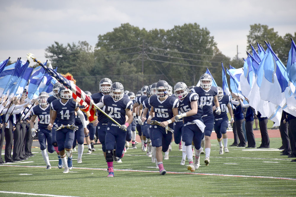 The Northport Tigers surged to a 35-6 win over Centereach High School during the annual homecoming game.  Photos/Northport-East Northport School District