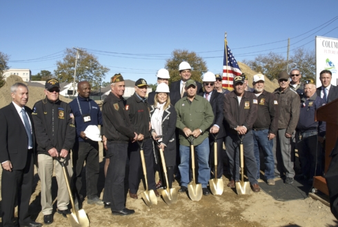 Veterans groups joined town officials for the groundbreaking of the future Columbia Terrace in Huntington.