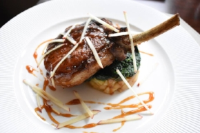 Sandbar's Berkshire Pork Chop with roasted potato with apples, baby spinach, and apple cider jus is one of the options for diners looking to eat out on Thanksgiving.
