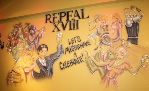 A newly completed mural inside Repeal XVIII celebrates the theme of the cocktail lounge: repeal of the 18th Amendment and the end of the prohibition era.