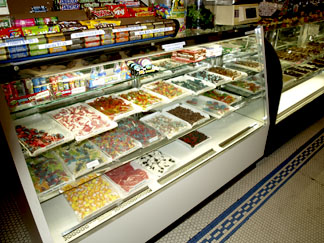 The shop offers a wide selection of candies and chocolates.