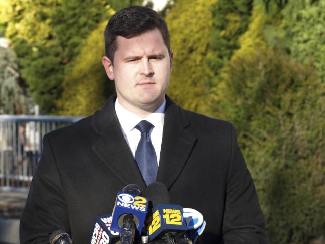 Brian Finnegan, former chief of staff to now-Huntington Supervisor Chad Lupinacci, at a press conference in Huntington Station Tuesday, details allegations of sexual assault during Lupinacci's tenure as Assemblyman.  Long Islander News Photo/Connor Beach