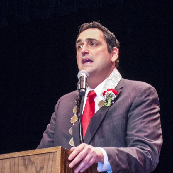 Chad Lupinacci, pictured during his January 2018 inauguration ceremony, is facing allegations of sexual abuse filed Tuesday by his former chief of staff.  Long Islander News archives photo