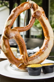 The giant hot pretzel with cheese dip is on the late night menu at Finley's of Green Street.