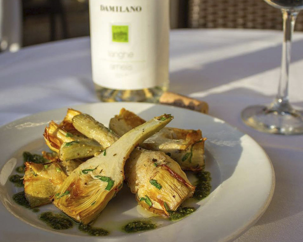 Sauteed Baby Artichokes with basil pesto is just one of the dishes on Jonathan's holiday menu.