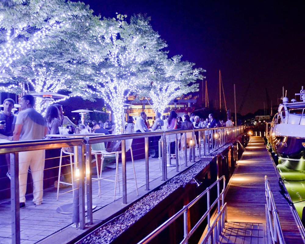 At Prime in Halesite, a year-round beautiful view of Huntington Harbor is transformed into a winter wonderland for the holiday season.
