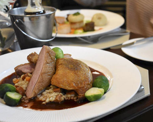 Long Island Duck Duo ($36) served with pearl barley risotto, chorizo, carrots and red wine-port sauce is on the Christmas Eve menu at Sandbar in Cold Spring Harbor.
