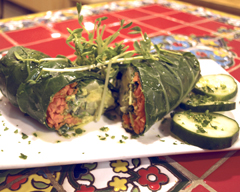 Healthy can be delicious with the flavorful twists at  Bee Organic  (24 Wall Street, Huntington), like their Raw Veggie Wrap ($9.95). With carrots, cucumber, avocado, red cabbage and vegan tahini sauce wrapped in collard greens and topped with sprouts, the vegetables were anything but bland after being dressed in the sauce. This a popular raw vegan dish, due to its delightful taste and the fact that it is not cooked, which makes it raw and keeps in more nutrition.