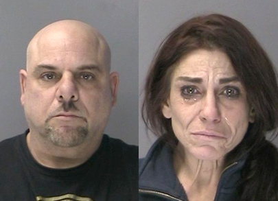 Suffolk Police charged Michael Cuozzo and Tara Costello with multiple credit card thefts. Police additionally believe Costello was involved in the theft of a purse from St. Francis church on Christmas Eve.  Photos/SCPD