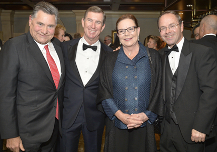 Hospital supporters at the gala, from left, are: Stanley Gale, board member and Kean Develpoment CEO John Kean, board member and Daniel Gale Sotheby's Real Estate CEO Patricia Petersen, and Huntington Hospital's former executive director Gerard X. Brogan, Jr.