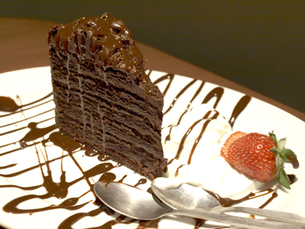 Bar Louie's chocolate cake ($9.99) is a heavenly way to end a meal.