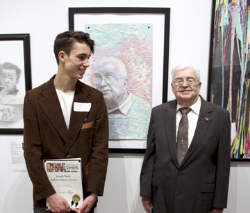 "Retired docent Tom Campbell was the inspiration for a student artist Grant Fryc's mixed-media work, ""Erudite,"" in Long Island's Best: Young Artists at The Heckscher Museum."