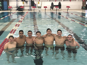 Seven of the team's eight seniors, many of whom have grown up swimming together.