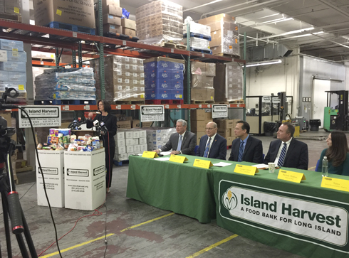 Island Harvest President and CEO, Randi Shubin Dresner speaks during a press conference at the food bank to discuss ways the organization can help federal workers who may need assistance during the partial government shutdown.
