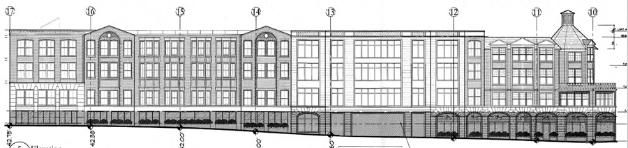 A side elevation of the development as seen from Gerard Street.
