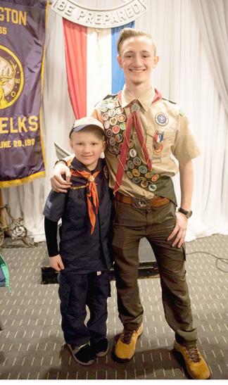 Eagle scout Dylan Campbell with his nephew, Tiger Cub Scout RJ Lahey from Pack 406 in Melville.